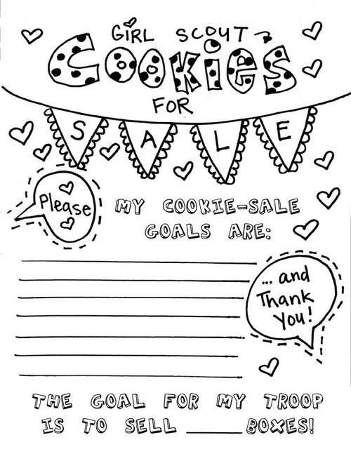 Cookie sale sheet