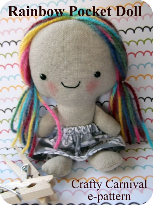 Etsy size rainbow pocket doll pattern cover
